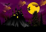 Обои Черный замок на фоне луны, летящей на метле ведьме, летучих мышей и деревьев, by DreamyArt
