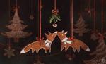 Обои Елка, украшенная игрушками, среди которых две лисички, целующиеся под омелой, by Jane Bekarevich