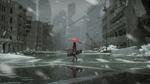 Обои Девушка с зонтом и кейсом идет по разрушенному городу под падающим снегом, by Gray Raven