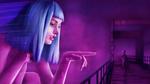 Обои Девушка с голубыми волосами показывает пальцем на мужчину, стоящего перед ней, триллер Blade Runner 2049 / Бегущий по лезвию 2049, by graham w