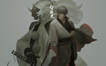 Обои Саката Гинтоки / Sakata Gintoki на фоне рогатого демона катаной из аниме Гинтама / Gintama
