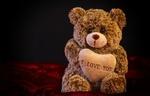 Обои Плюшевый медвежонок держит сердечка (I LOVE YOU), by Alexas_Fotos