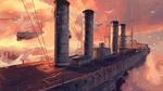 Обои Flying ships / Летащие корабли в розовых облаках, by WaitSama