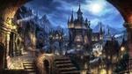Обои Фэнтезийный замок на фоне ночного города