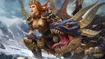 Обои Богиня зимы Skadi / Скади с драконом из игры Smite, by MarmaduX