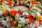 Обои Венок из белых, розовых роз, желтых и белых тюльпанов, оранжевых гербер, by Ingrid