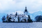 Обои Церковь православная на фоне деревьев гор, неба и озера, by Ingrid