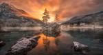Обои Озеро Хинтер на закате дня, by carsten bachmeyer
