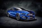 Обои Синий Ford Mustang Shelby / Форд Мустанг Шелби в туманной ночной мгле