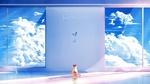 Обои Котенок сидит у стены с большими окнами, с видом на голубое облачное небо и смотрит на порхающую бабочку, by Lifetine
