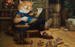 Обои Кот Кузьма играет на скрипке, а мыши на полу веселяться, художник Александр Маскаев, вечерок