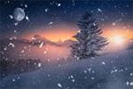 Обои Снежный вечер на закате солнца на Шмельце в Ситальских Альпах, by Friedrich Beren