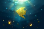 Обои Бумажная золотая рыбка со звездами под водой, by ShootingStarLogBook