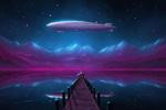 Обои Деревянный пирс в озере и космический корабль в ночном звездном небе на фоне заснеженных гор, светящихся от северного сияния, by ShootingStarLogBook