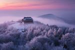 Обои Дом на возвышении в окружении деревьев в снегу. Фотограф Martin Rak