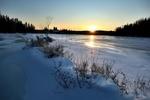 Обои Снежное поле на фоне заходящего солнца и деревьев, by Alain Audet