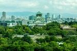 Обои Вид на замок с крепостной стеной на фоне современного города, Осака / Osaka, Япония / Japan