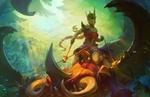 Обои Amazon queen / Королева амазонок верхом на гигантском скорпионе, арт к игре Juggernaut Wars, by Alexandr Leskinen
