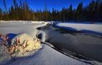 Обои Река на фоне снега и леса, by Alain Audet