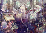 Обои Голубоглазая белокурая девочка занимается магией в волшебном мире среди рыбок, цветов и магических артефактов