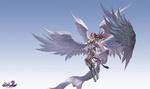 Обои Девушка-ангел парит в небе, by Yang chen