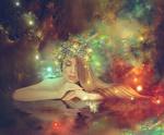 Обои Работа - Теория Большого взрыва, девушка с ягодами на голове на фоне космического пространства. Фотограф Nataliorion