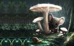 Обои Мышка сидит под грибом, by Sebastifn Montecinos