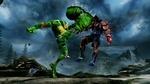 Обои Killer Instinct 3 зеленая боевая жаба пинает большим ботинком на фоне гор и синего неба