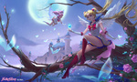 Обои Sailor Moon / Сейлор Мун сидит на дереве с кристаллом над рукой