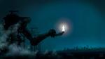 Обои Светящаяся девушка стоит на металлической конструкции, похожей на руку
