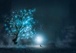 Обои Мышка сидит на земле поодаль от дерева на фоне луны, by @tosakanoseki