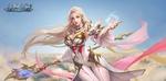 Обои Белокурая девушка-маг парит в небе, by Da Vi