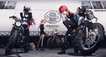 Обои Девушки на мотоциклах на фоне здания