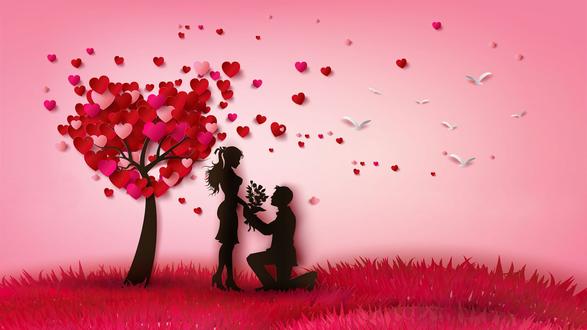 Конкурсная работа Мужчина с букетом цветов стоит перед девушкой, преклонив колено на фоне дерева из сердец и летящих белых птиц в розовом небе