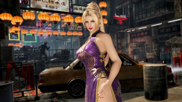 Девушка-боец Rachel / Рэйчел в ночном городе из игры Dead or Alive 6