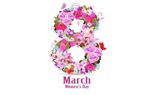 Конкурсная работа Восемь с цветами и бабочками (March, Womens day / Март, День женщин)