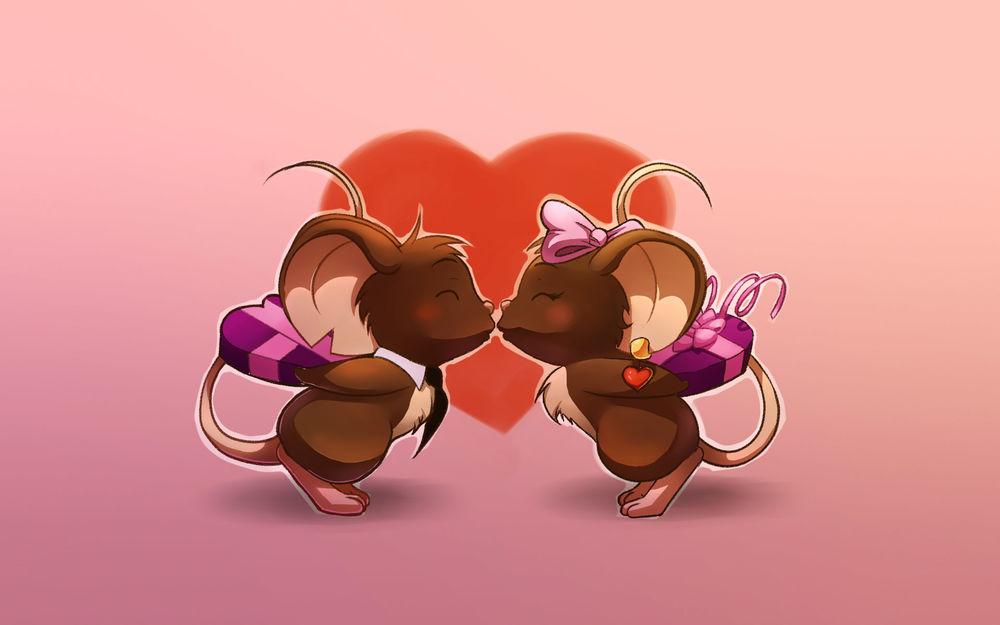 Обои для рабочего стола Две целующие мышки на фоне сердца, с подарками за спинками