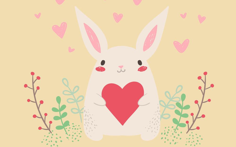 Обои для рабочего стола Белый кролик с сердцем