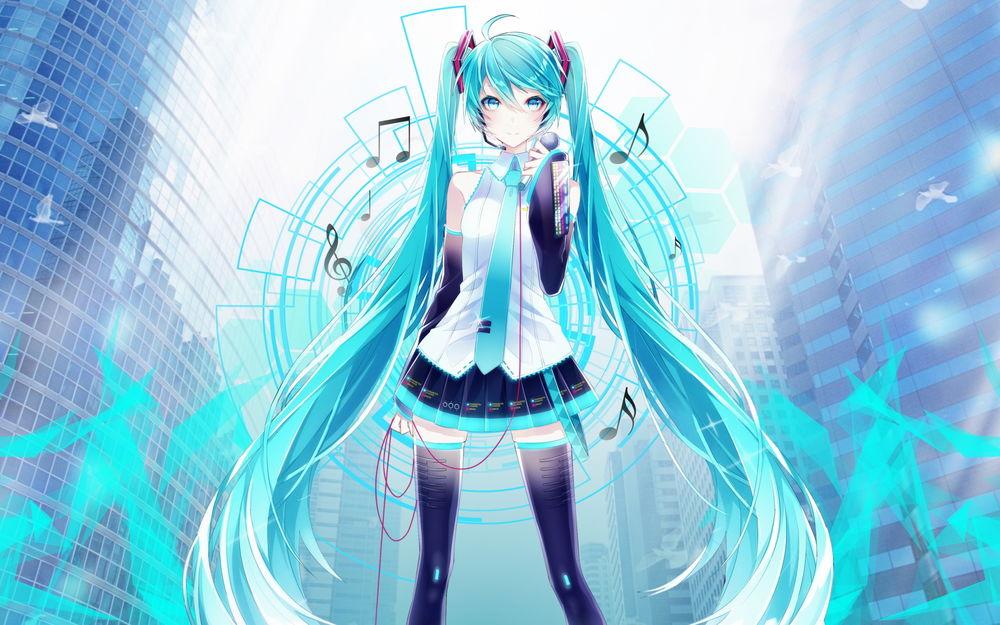 Обои для рабочего стола Vocaloid Hatsune Miku / Вокалоид Хатсунэ Мику, by Tsadeek
