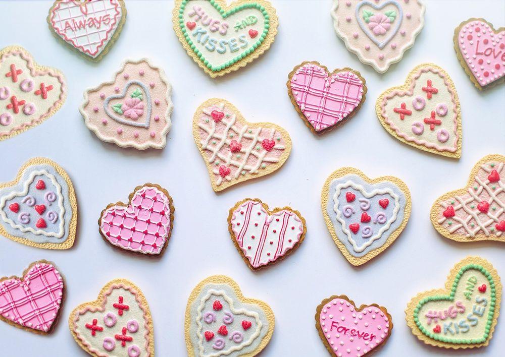 Обои для рабочего стола Печенье в виде сердечек, by Jill Wellington