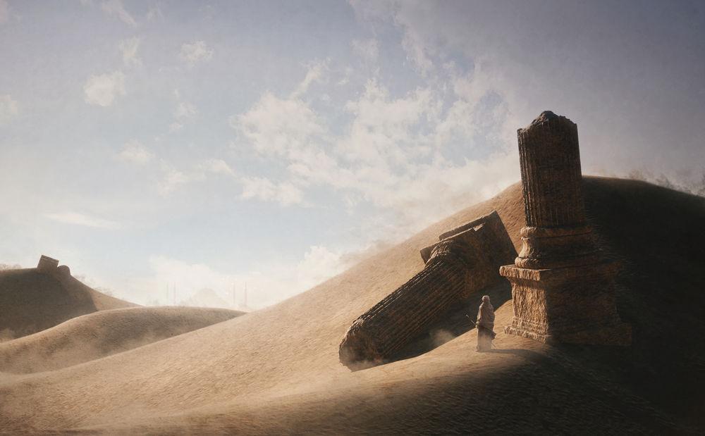 Обои для рабочего стола Мужчина стоит в пустыне возле обломков колонны
