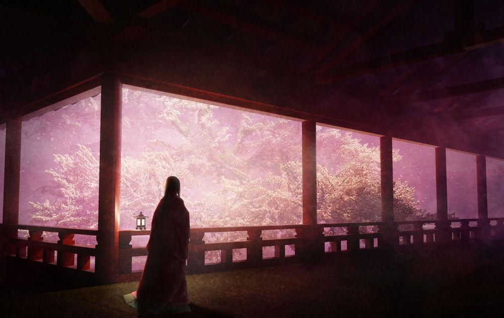 Обои для рабочего стола Девушка в традиционной одежде стоит на крыльце дома, любуясь цветущей сакурой
