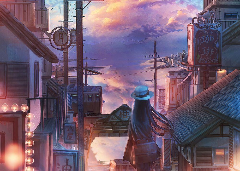 Обои для рабочего стола Девушка в шляпе с длинными волосами стоит на улице города на фоне облачного неба, by Nakomo