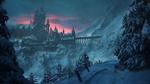 Обои Сказочный замок у гор в окруженнии заснеженного оеса, by Kacper Szwajka