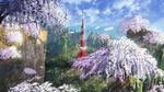 Обои Токийская башня среди гор, на склонах которых цветет сакура
