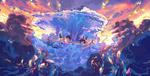 Обои Девочка с мальчиком зависли в небе рядом с волной, by GZery