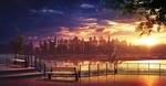 Обои Город у воды под закатным небом