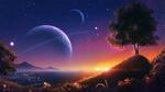 Обои С вершины холма виден город под закатным небом с планетой