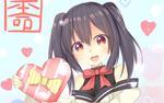 Обои Девушка с двумя хвостиками, с коробкой конфет в виде сердца