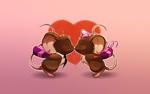 Обои Две целующие мышки на фоне сердца, с подарками за спинками